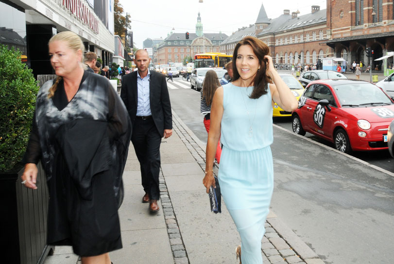 It's Copenhagen Fashion Week on August 7 - 11, 2013.  Here Crown Princess Mary is on her way to the MODE-Show at NIMB on August 8. (Photo by Hasse Ferrold, The Danish Pioneer's Staff Photographer)