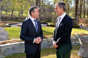 NATO Secretary General Anders Fogh Rasmussen, left, meets with then Norwegian Prime Minister Jens Stoltenberg during the NATO Secretary General's visit to Norway in May 2013. (File Photo courtesy of NATO).