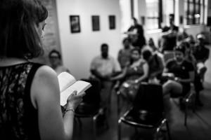K.B. Jensen reads a favorite chapter from her new book. (Photo: JonasVandall.dk)