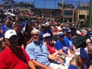 Norman Christensen and his family enjoying his 75th Birthday Celebration at Wrigley Field in Chicago.