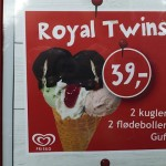 The Royal Twins ice cream cone, with two flødeboller, in honor of Prince Vincent and Princess Josephine. (Photo courtesy of Carol Schoeder)