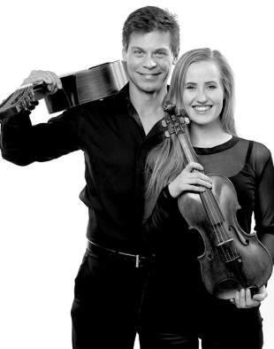 Icelandic-born violinist Ása Guðjónsdóttir and American guitarist Christopher Ladd are The Amaranth Duo. (Photo courtesy of the Nordic Heritage Museum)