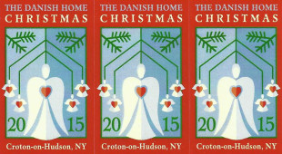 CLICK TO ENLARGE IMAGE. Close-up of the 2015 Christmas Stamps designed by Barbara Wertheim. A full sheet features 32 stamps. (Photo courtesy of The Danish Home, Croton-on-Hudson, NY)